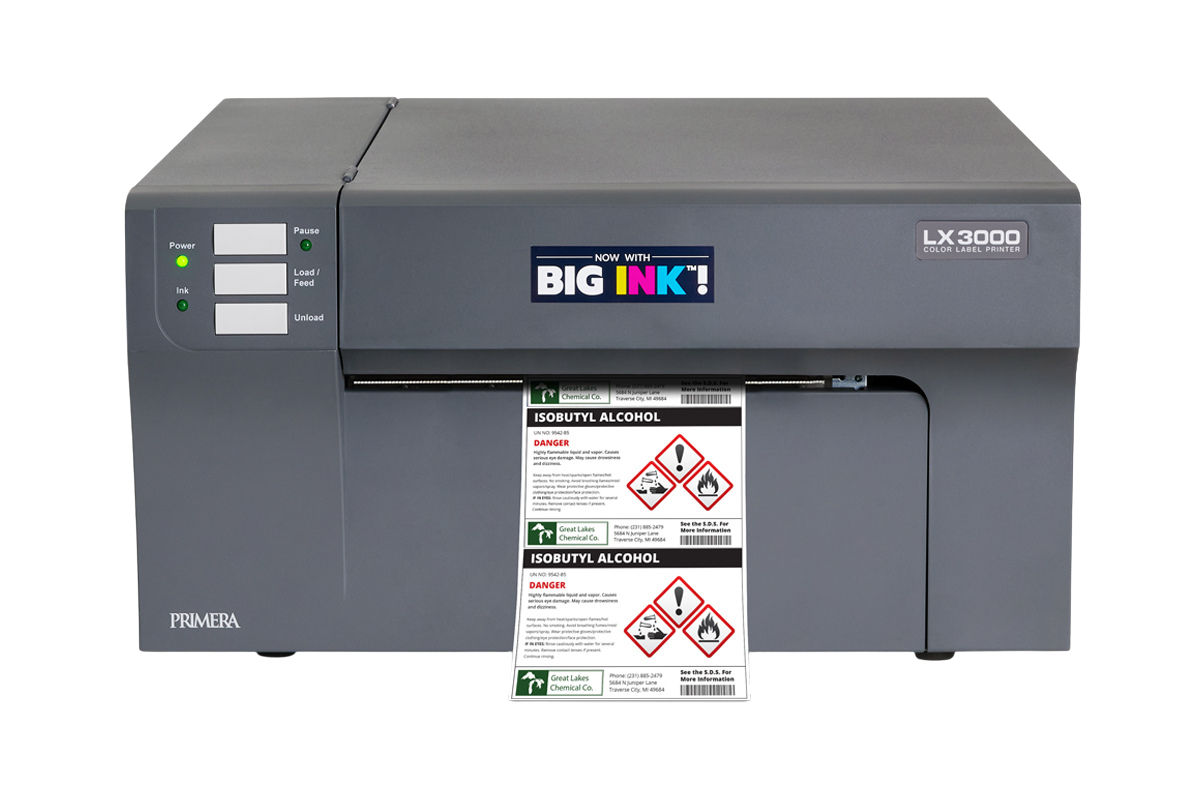 LX3000 Color Label Printer with Chemical Label Output