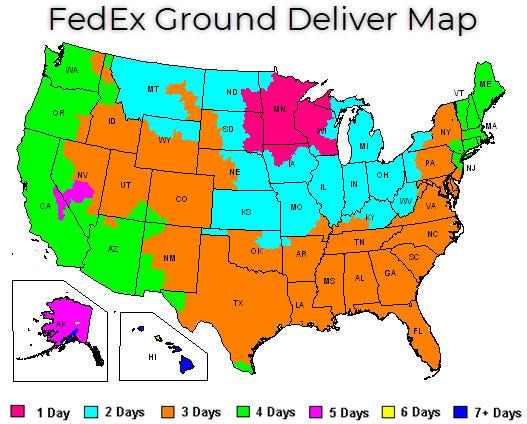 fedex delivery map